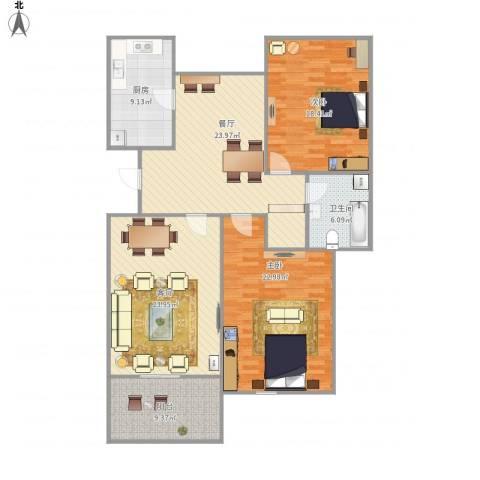 金丰蓝庭三期-222-1212室2厅1卫1厨151.00㎡户型图