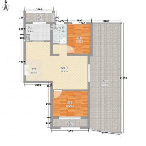 龙德里2室1厅1卫1厨108.33㎡户型图