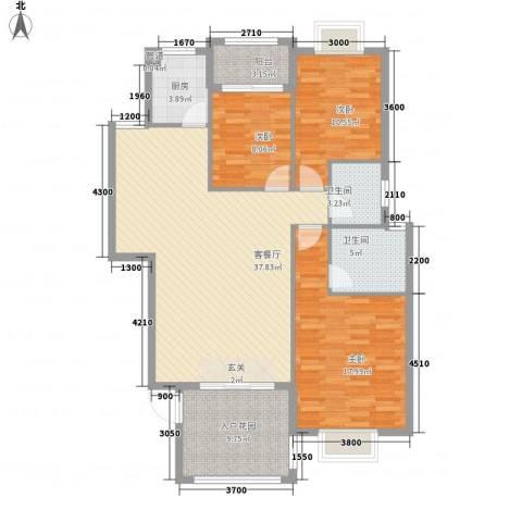 阳光翠庭3室1厅2卫1厨99.47㎡户型图