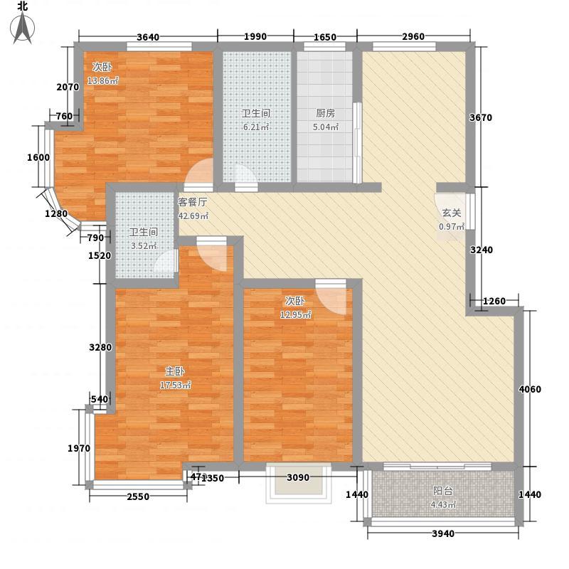 康大风和日丽152.00㎡标准层三居室户型3室2厅2卫