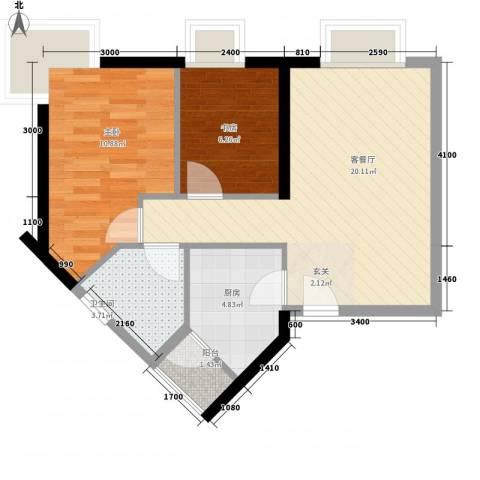 城市杰座2室1厅1卫1厨67.00㎡户型图