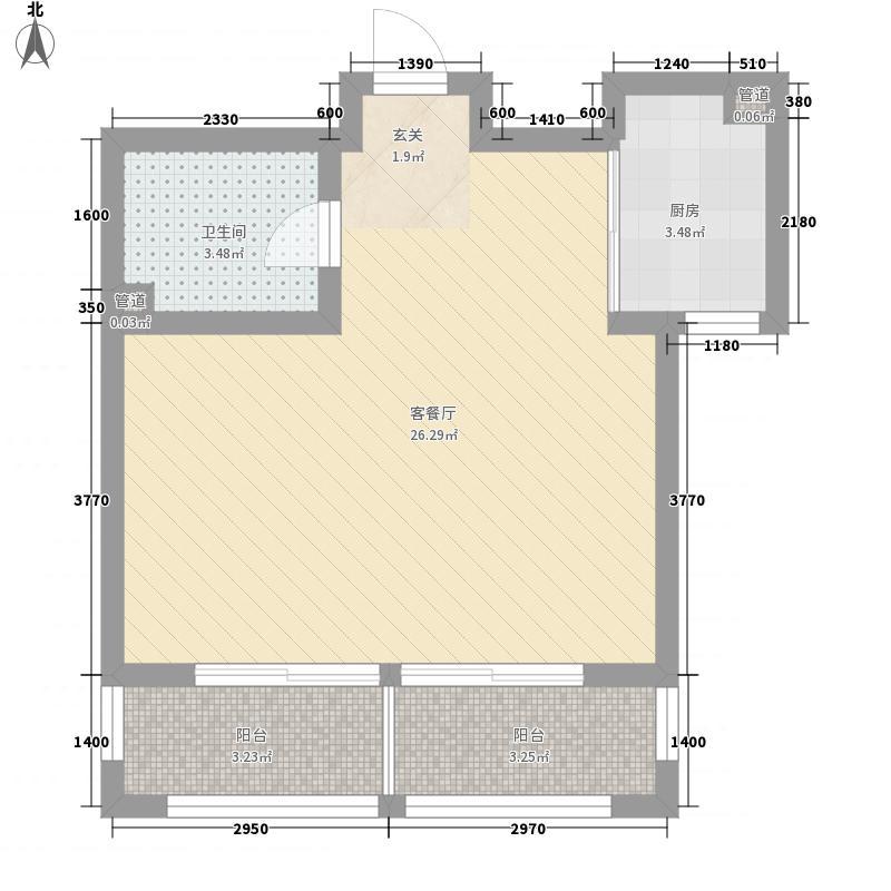 提香海岸58.00㎡二期1#、2#高层标准层B户型1室2厅1卫1厨