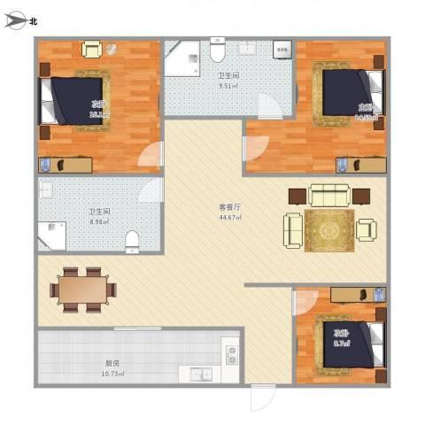金丰蓝庭三期-321-1213室1厅2卫1厨151.00㎡户型图