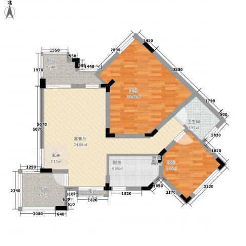 海昌加勒比2室1厅1卫1厨72.00㎡户型图