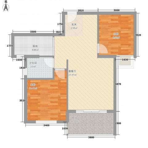 ��书院2室1厅1卫1厨88.00㎡户型图