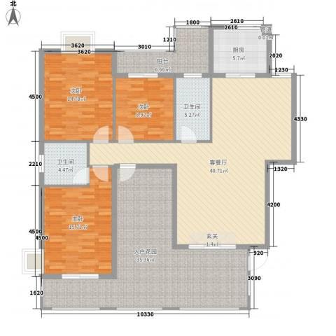 阳光翠庭3室1厅2卫1厨191.00㎡户型图