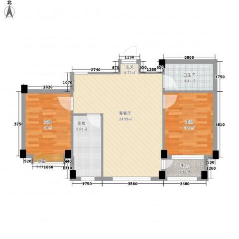 翰林苑2室1厅1卫1厨84.00㎡户型图