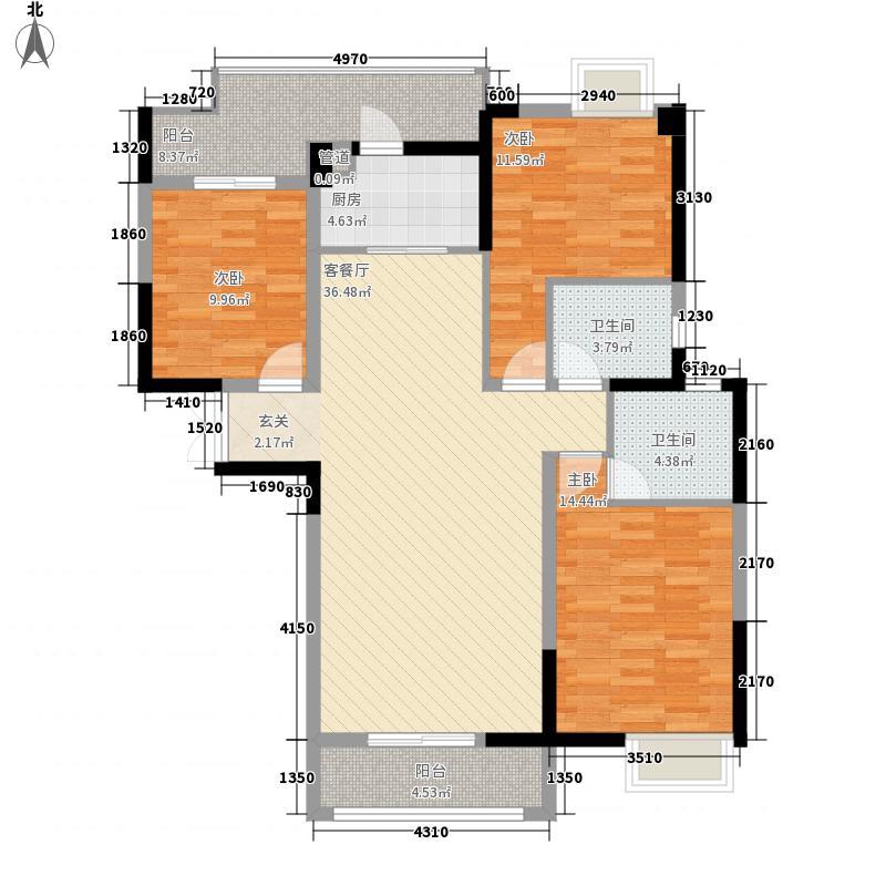 鄂州恒大首府13.00㎡B3户型3室2厅2卫1厨