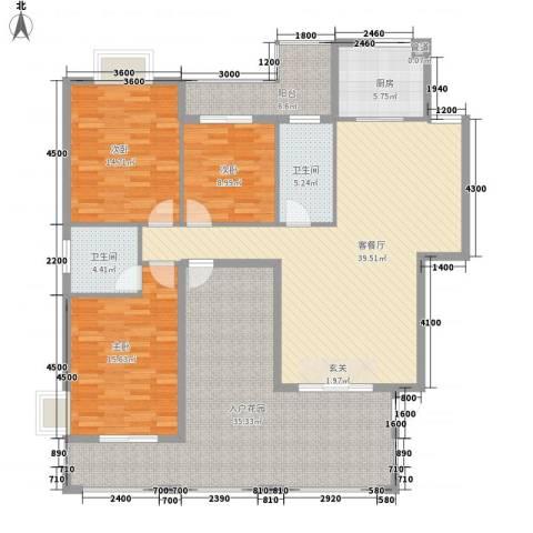 阳光翠庭3室1厅2卫1厨142.00㎡户型图