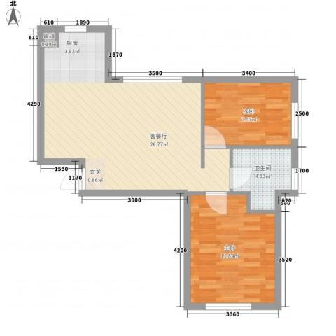 甜橙派2室1厅1卫0厨74.00㎡户型图