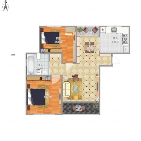 莲花公寓(闵行)2室1厅1卫1厨106.00㎡户型图