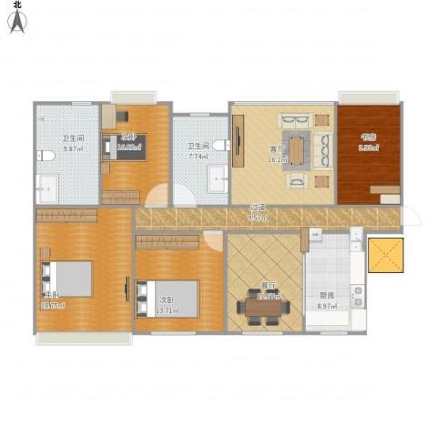 香豪凯旋广场4室2厅2卫1厨158.00㎡户型图