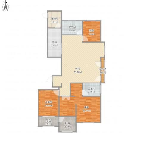 潍坊高新城市广场3室1厅2卫1厨148.00㎡户型图