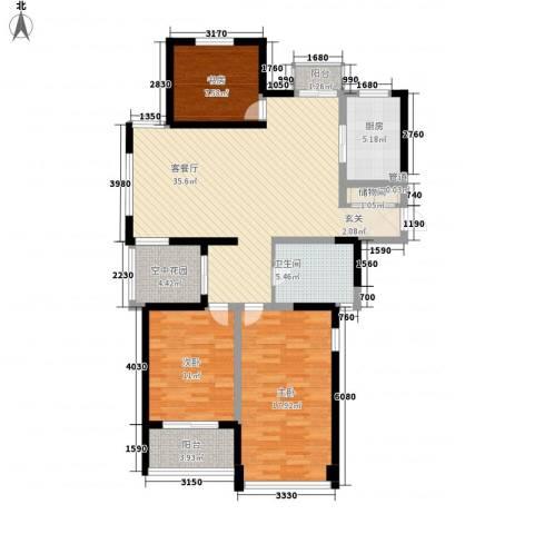 世纪华城3室1厅1卫1厨141.00㎡户型图