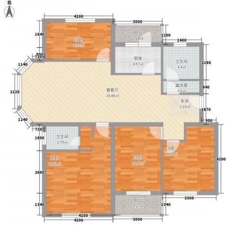 近秀花园4室1厅2卫1厨144.00㎡户型图