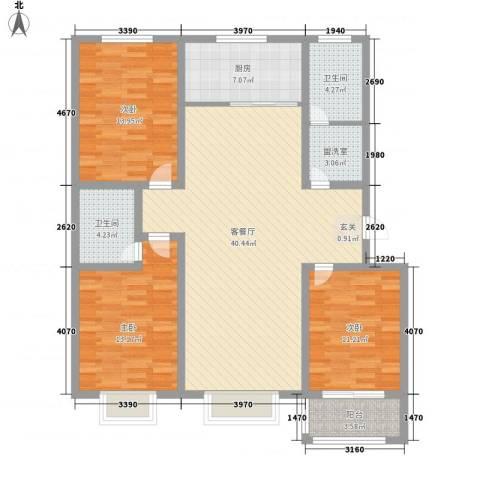 康城壹品3室2厅2卫1厨144.00㎡户型图