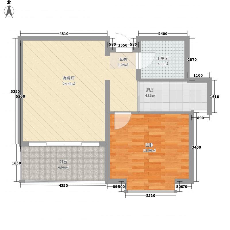 龙泽山庄76.75㎡闲庭F户型1室2厅1卫