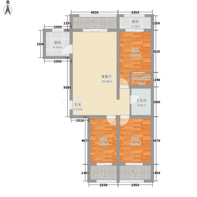 凤凰苑12.76㎡C户型3室2厅1卫1厨
