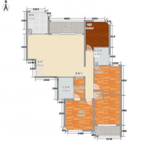 蓝湾国际4室1厅2卫1厨176.00㎡户型图