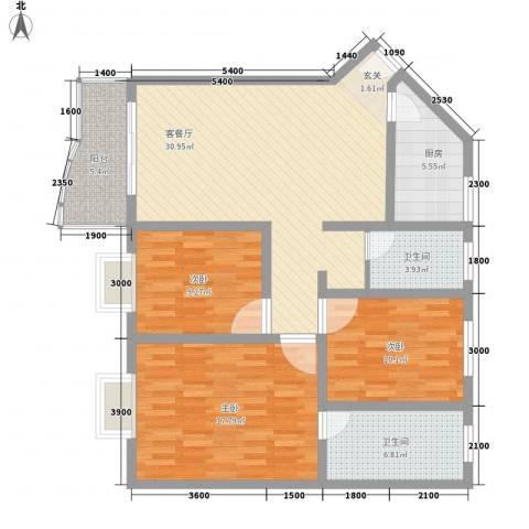 海德旭园3室1厅2卫1厨116.00㎡户型图