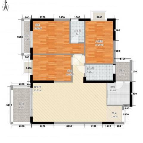 滨江大厦3室1厅2卫1厨95.58㎡户型图
