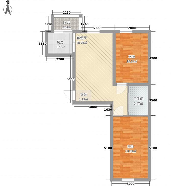 玖诚领域74.00㎡F户型2室2厅1卫1厨
