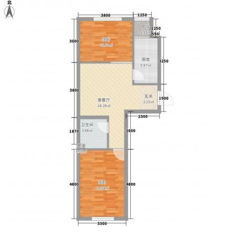 北方尚品2室1厅1卫1厨82.00㎡户型图