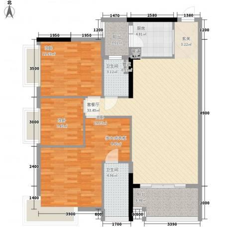 金润铂宫3室1厅2卫1厨98.80㎡户型图