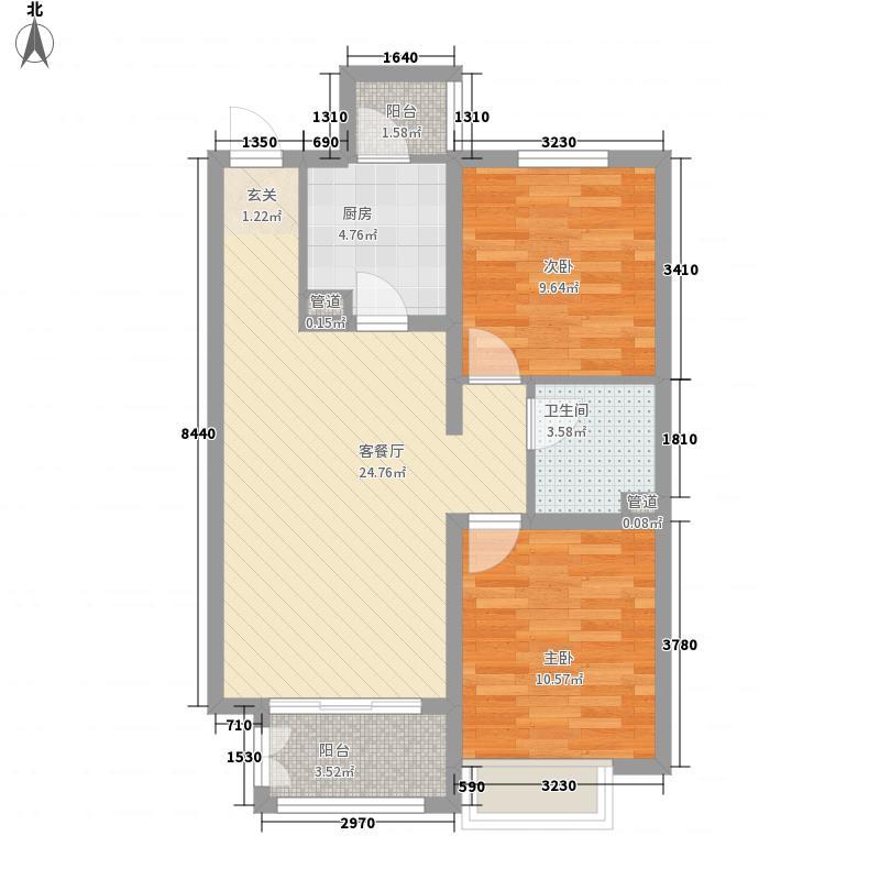 中建凤栖第85.00㎡一期A1户型2室2厅1卫1厨