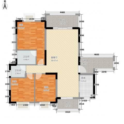 北大阳光3室1厅2卫1厨128.00㎡户型图