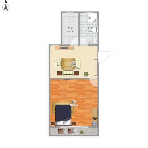 建业新村51--1111室1厅1卫1厨64.00㎡户型图