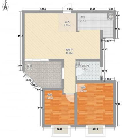 世纪中央城2室1厅1卫0厨89.00㎡户型图