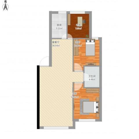 金港翠园3室1厅1卫1厨109.00㎡户型图