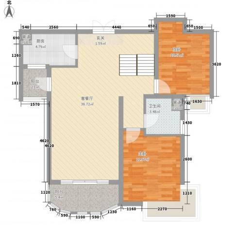 世纪中央城2室1厅1卫1厨104.00㎡户型图