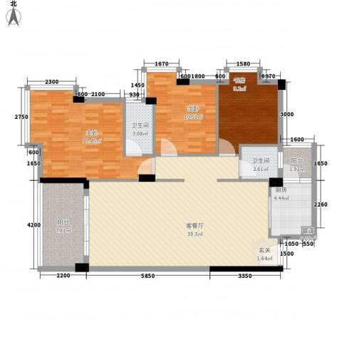 隆基天地广场3室1厅2卫1厨128.00㎡户型图