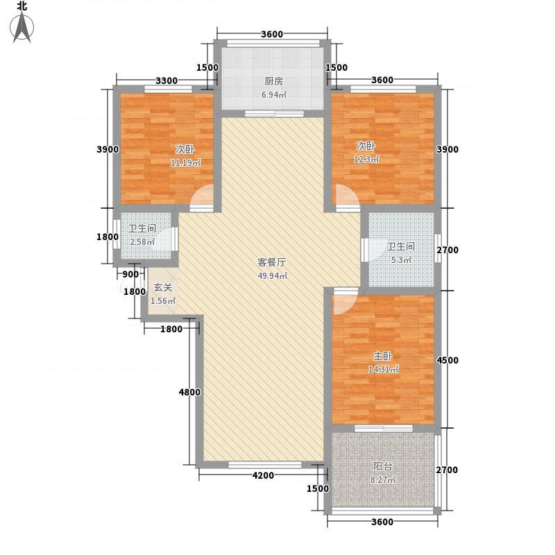 三江花园146.80㎡E户型3室2厅2卫1厨