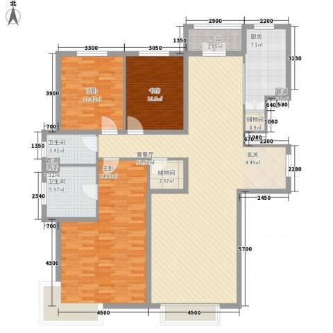 银河丽湾二期丽湾上品3室1厅2卫1厨170.00㎡户型图