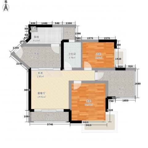 威廉城邦2室1厅1卫1厨88.00㎡户型图