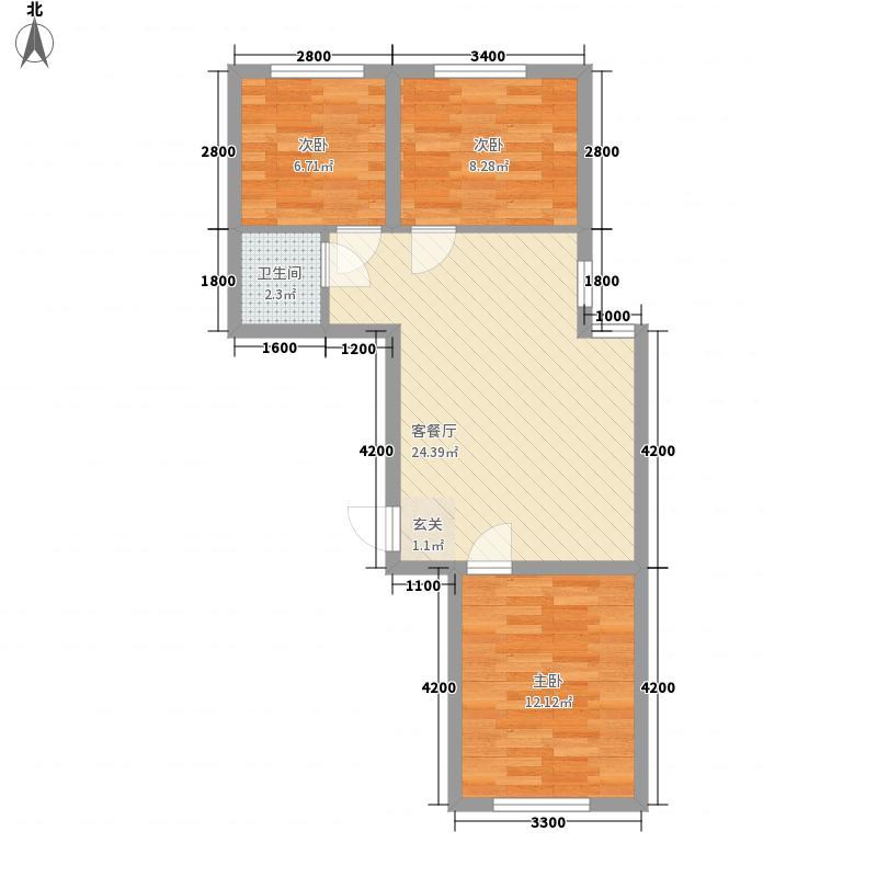 亚联翡翠春城82.00㎡32号楼迷麓组团B户型3室2厅1卫1厨