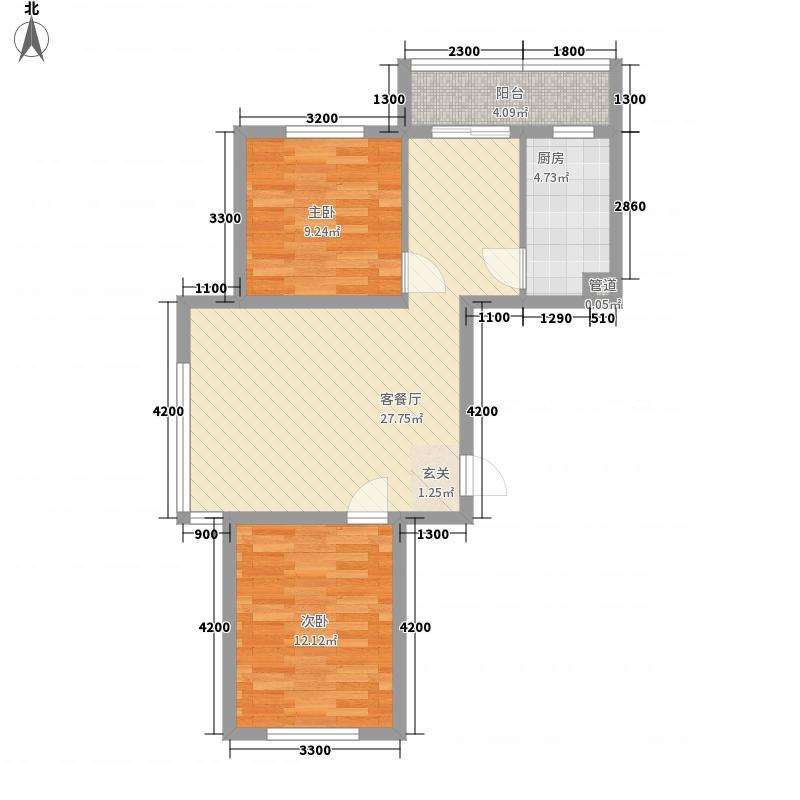 亚联翡翠春城88.00㎡32号楼迷麓组团A户型2室2厅1卫1厨