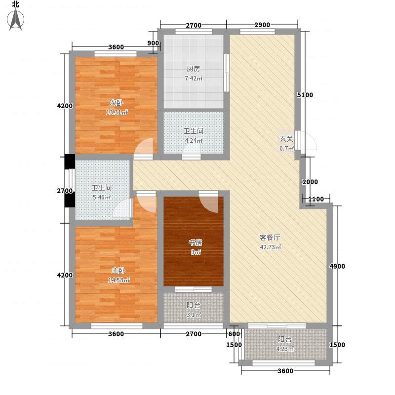 山海国际134.42㎡J-户型3室2厅2卫