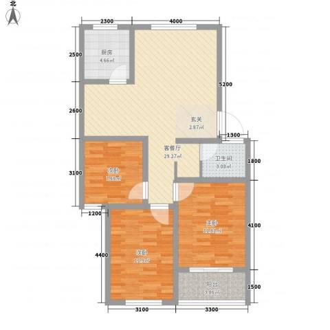 山泉印象3室1厅1卫1厨72.23㎡户型图