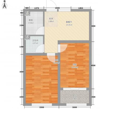 山泉印象2室1厅1卫1厨65.00㎡户型图