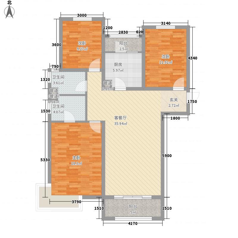中建凤栖第138.00㎡一期D1户型3室2厅2卫1厨