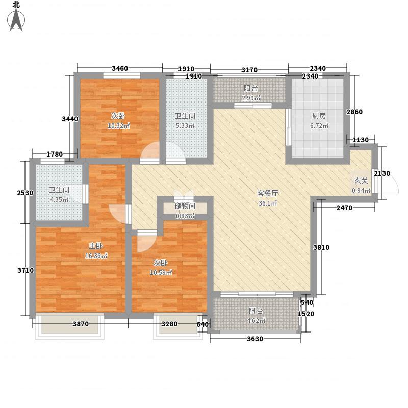 李沧万达广场143.74㎡二期1、4、5、6、7、8#楼G户型3室2厅2卫