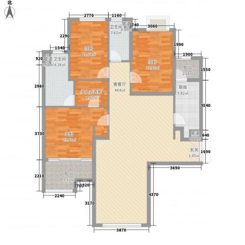 昌盛双喜城3室1厅2卫1厨156.00㎡户型图