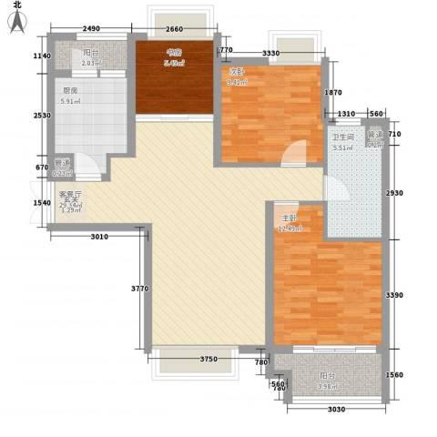 昌盛双喜城3室1厅1卫1厨74.60㎡户型图