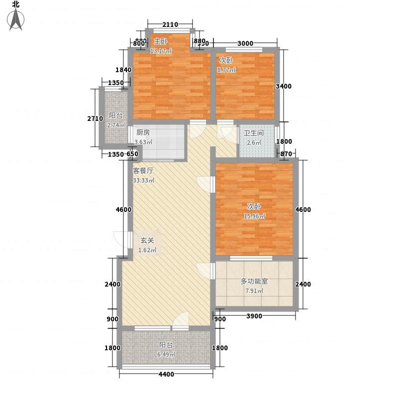 香树湾1.30㎡109户型3室2厅1卫