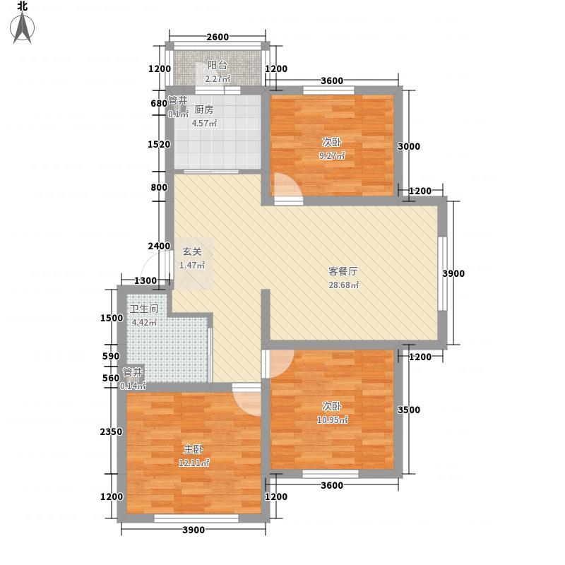 公交宿舍3-2-1-1-1户型3室2厅1卫1厨