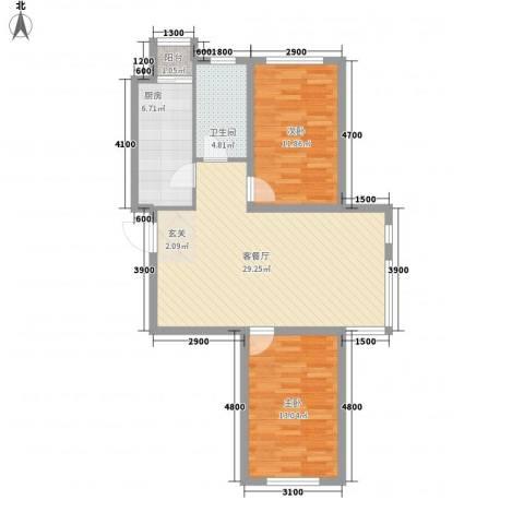 北方尚品2室1厅1卫1厨66.73㎡户型图